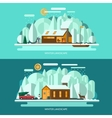Winter landscape Flat style vector image vector image