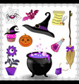 witch accessories set in purple color isolated on vector image vector image