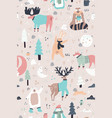 Woodland animals hand drawn color seamless pattern