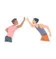 young men giving high five cheerful friends and vector image vector image