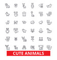 cute funny puppy baby animals cat dog owl vector image