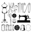 Set tailor icons isolated on white design element vector image