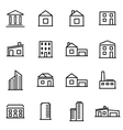thin line icons - buildings vector image