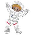 a sticker template with an astronaut cartoon vector image