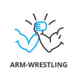 arm wrestling thin line icon sign symbol vector image