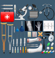 big medical objects set realistic tools and vector image vector image
