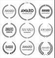 black award signs with laurel wreath isolated vector image vector image