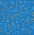 blue orange cute owl seamless pattern vector image vector image