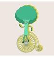 Broccoli on a wheel vector image vector image