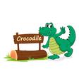 Cartoon zoo crocodile sign vector image vector image