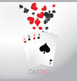 casino background with playing cards and symbol vector image vector image