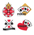 casino club isolated icons gambling blub emblems vector image vector image