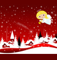 christmas angel in the sky on christmas eve vector image vector image