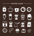 coffee and tea linear icons set vector image