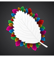 colorful leaf around the white leaf vector image vector image