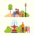 couple watching movie sit on bench in city park vector image vector image