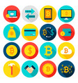 currency bitcoin flat icons vector image vector image