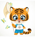 cute cartoon baby tiger cub holding a butterfly vector image vector image