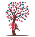 Decorative tree silhouette with fairy vector image