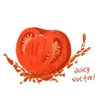 drawing slice of tomato with juice vector image vector image