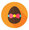 Easter Egg with Bow Knot Circle Icon vector image vector image