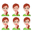 face expressions of cleaner woman vector image vector image