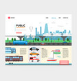 flat city transport landing page template vector image vector image