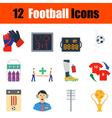Flat design football icon set vector image vector image