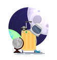flat of space tourists suitcase with astronauts vector image