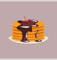 fresh tasty pancakes with chocolate and cherry on vector image vector image