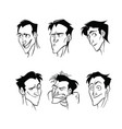 graphic art of a set of emotions of a man vector image vector image
