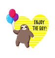 greeting card with sloth holding balloons vector image vector image