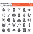 halloween glyph icon set horror symbols vector image