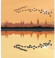 Historic towns and migrating geese vector image vector image