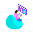 isometric young man edits video video editing vector image