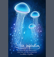 magic glowing jellyfish underwater undersea world vector image