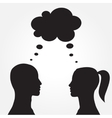 Man and woman with speech bubble vector image