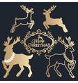 Merry Christmas lettering Golden reindeers vector image