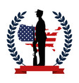 military with weapon silhouette with flag emblem vector image vector image