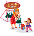 mom and child buying stuff vector image vector image