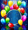 Multicolored inflatable balloons with circle frame vector image