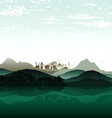 Nature lake on background of city and the mountain vector image vector image