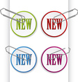 new sign labels with paperclips vector image vector image