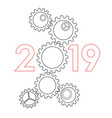 new year 2019 concept - gears vector image