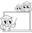 owl teacher and students in classroom vector image