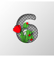 paper cut number 6 with poppy flowers vector image