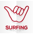 Paper silhouette red surfers shaka symbol with vector image