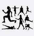 people fitness aerobic and sport silhouette vector image vector image