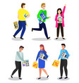 people with new electronics devices and gadgets vector image vector image