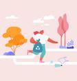 plogging concept teenager volunteer character run vector image vector image